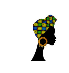 African woman in traditional colorful turban vector