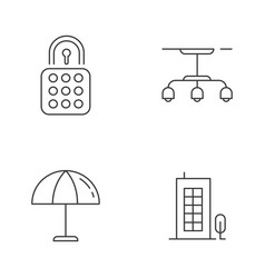 Apartment linear icons set vector