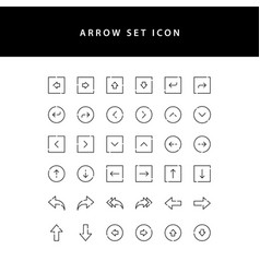 arrows icons set outline vector image
