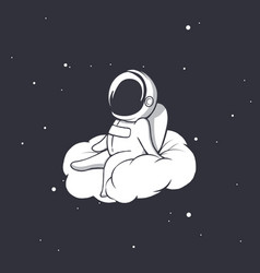 Astronaut sits on cloud vector