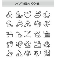 Ayurveda thin line icons set outline pictograph vector