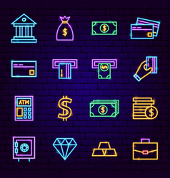 banking neon icons vector image