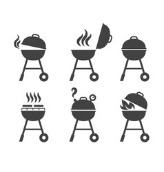 barbeque grill icons vector image