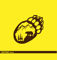 bear life in footprint vector image