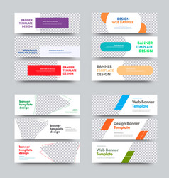 big set templates horizontal white banners vector image