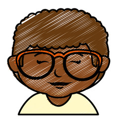 Black little boy with glasses character vector