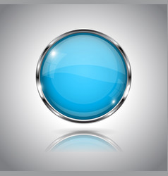 blue round glass button 3d icon with metal frame vector image