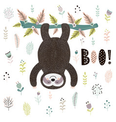 boo cute print with a sloth hanging from tree vector image