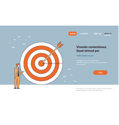 businessman standing near target arrow achievement vector image