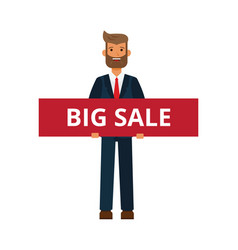 businessman with big sale sign cartoon flat vector image