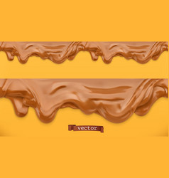 Caramel flows peanut butter chocolate spread vector