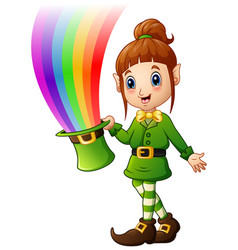 Cartoon girl leprechaun holding hat with magic rai vector