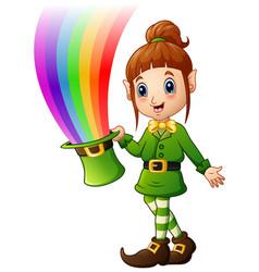 cartoon girl leprechaun holding hat with magic rai vector image