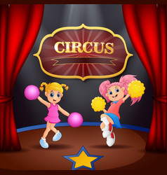 Cartoon two cheerleaders girl performance on the s vector
