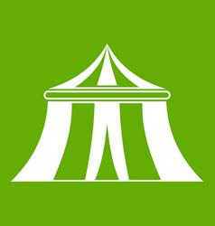 Circus tent icon green vector