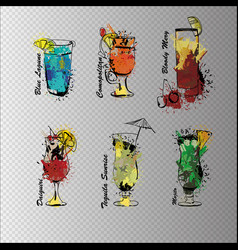 cocktail set on transparent background template vector image