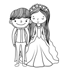 couple marriage cute cartoon black and white vector image