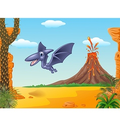 Cute pterodactyl flying with prehistoric backgroun vector