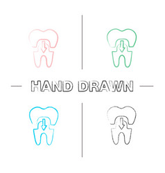 Dental crown with down arrow hand drawn icons set vector