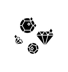 diamonds black icon sign on isolated vector image