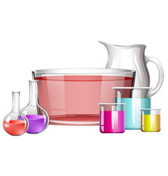 different science beakers with liquid vector image