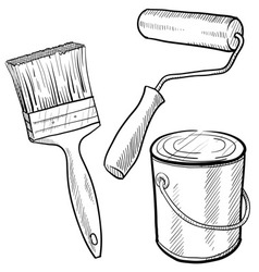 doodle paint can brush vector image