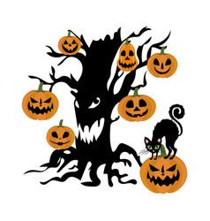 Evil tree and pumpkin vector