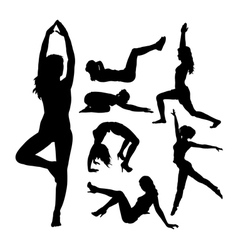 Fit girl fitness sport activity silhouettes vector image