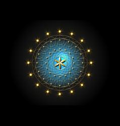 flower life gold symbol sacred geometry mandala vector image