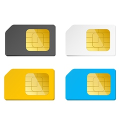 Four sim cards black white blue yellow vector