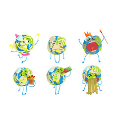 funny earth globe cartoon character collection vector image