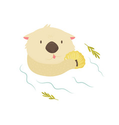 Funny otter with shell floating in a river vector