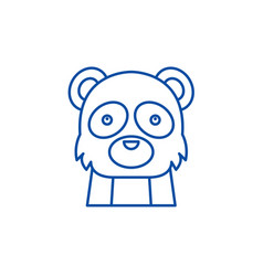 funny panda line icon concept funny panda flat vector image