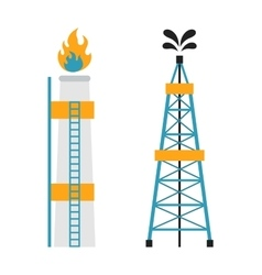Gas rig station and oil recovery platform flat vector