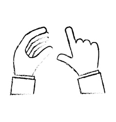 Gesture of hands holding and tapping icon image vector