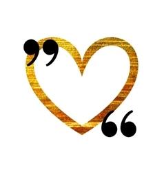Gold heart quotation mark speech bubble vector