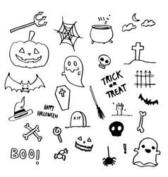 halloween doodle hand drawing vector image