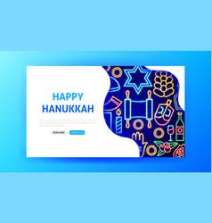 Hanukkah neon landing page vector