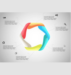 Hexagon infographic template created six curved vector