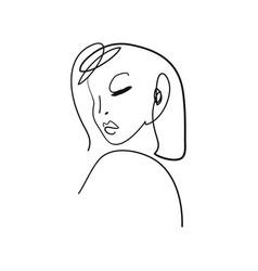 Ink brush naked woman silhouette line art boho vector