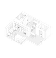 Interior drawing apartment vector