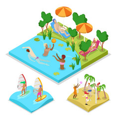 Isometric outdoor activity water polo surfing vector