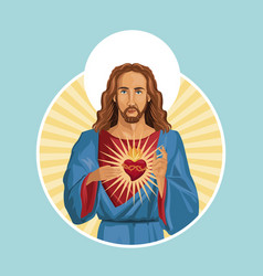 Jesus christ sacred heart label vector