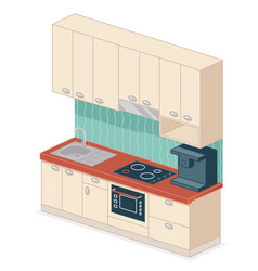 kitchen set isometric design vector image