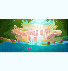 Landscape with cascade waterfall in forest vector