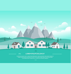 Landscape with houses by the mountains - modern vector