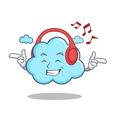 Listening music cute cloud character cartoon vector