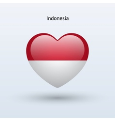 Love Indonesia symbol Heart flag icon vector