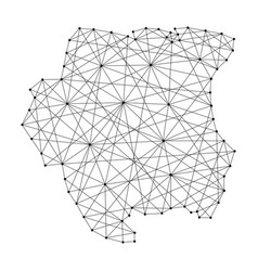 Map of suriname from polygonal black lines vector