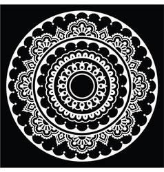 Mehndi Indian Henna floral tattoo white round pat vector image